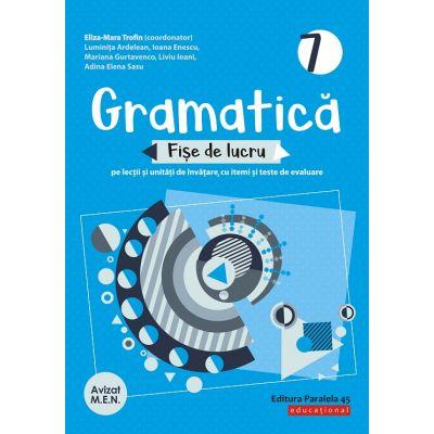 Gramatică. Fișe de lucru (pe lecții și unități de învățare cu itemi și teste de evaluare). Clasa a VII-a